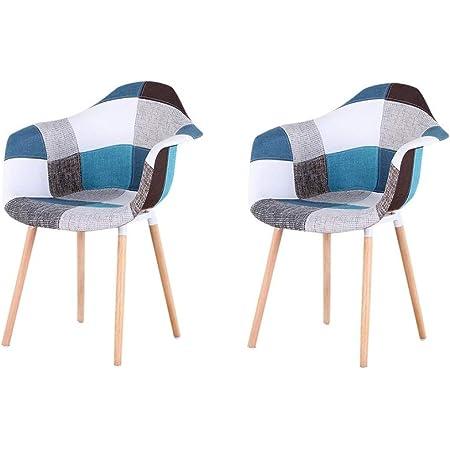 soggiorno Muebles Home Set di 4 sedie da cucina in stile moderno di met/à secolo con schienale e gambe in legno sedie laterali Blu per sala da pranzo camera da letto in plastica stampata