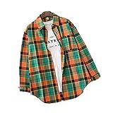 Camisa Camisas para mujer Blusas sueltas simples Camisa a cuadros de manga larga para mujer Blusa de un solo pecho Top Prendas de abrigo se aplican al trabajo negocios o uso diario etc.-Green_Orange_L