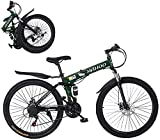 26 inch Mountain Bike for Men Women,21 Speed Folding Mountain Bike High Carbon Steel,Full Suspension MTB Bicycle Double Disc Brake Outroad Mountain Bicycle for Adult,Fast Delivery USA in Stock