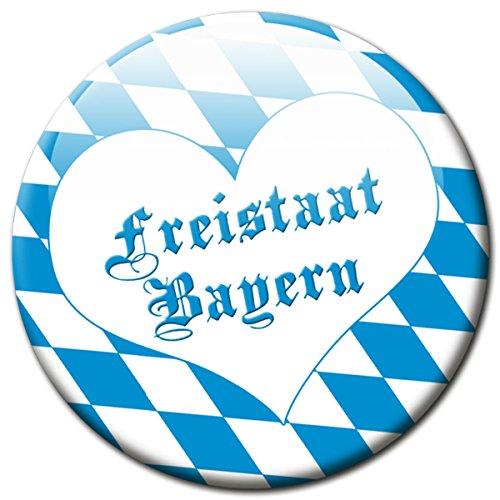 Kühlschrankmagnet Flagge Bayern mit Herz Geschenk Magnet Fan Länder Souvenir für Magnettafel stark groß Ø 50 mm