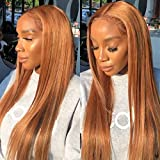 Color30 Brown Silky Straight Human Hair Wig for Black Women Glueless 13x6 Deep Part Lace Front Wig Melted Swiss Lace 150% Density Pre Plucked Bleached Knots by Beata Hair (18Inch, 13x6 Lace Front Wig)