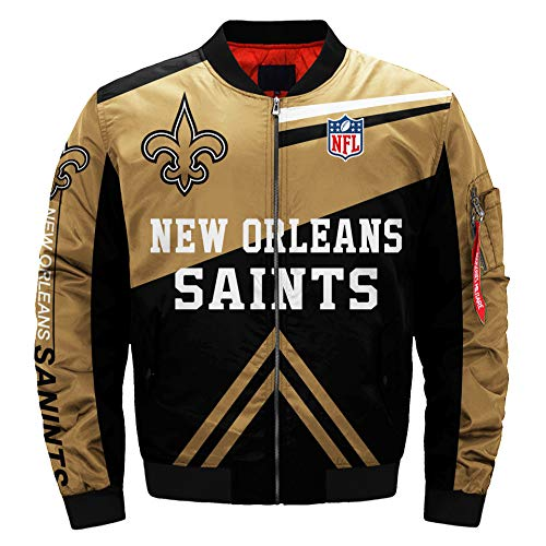 Mens NFL Football Jacket Rugby Jacket Colorful Flight Bomber Outdoor Sports Lightweight Coat S-5XL (New Orleans Saints,XL)