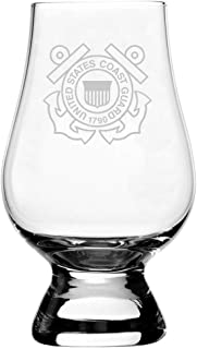 United States Coast Guard Etched Glencairn Crystal Whisky Glass