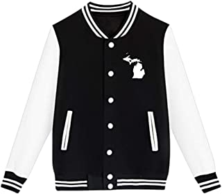 WFIRE Baseball Jacket Love Michigan State Map Custom Fleece Varsity Uniform Jackets Coats for Youth