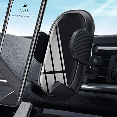 Soporte universal para teléfono de coche para ventilación con clip estable y doble botón de liberación, compatible con smartphones y dispositivos GPS