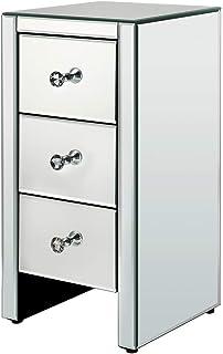 Alightup Table de Chevet Miroir en Verre, Meuble Miroir avec 3 Tiroirs, 30 x 30 x 60 cm, pour Salon Chambre Bureau Salle d...
