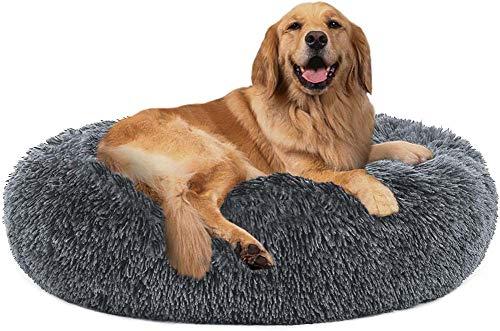 YINN Luxus-Hundebett, kuschelige Matratze für Labrador/Golden Retriever/Russell Hundekissen, großes Kunstfell, rund, beruhigendes Haustierbett, Anti-Angst-Kuschelkissen, Welpen-Sofa
