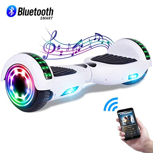 CBD 6.5' Hoverboard w/Bluetooth Speaker, Self Balancing Hoverboard for Kids with LED Lights, UL 2272 Certified Bluetooth White Hoverboard