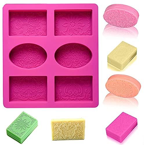 Stampo Silicone Sapone 6 cavità,Stampi per Sapone,Stampo per Sapone,Stampi in Silicone per Sapone,Stampi Fai da Te Sapone,per Sapone Fai da Te,Cioccolato,Stampi Rettangolari e Ovali (Rosa Rossa)