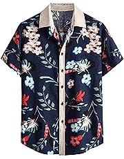 XUEbing Zomer Tropische Shirts voor Mannen Korte Mouw Button Up Aloha Hawaiian Shirts Losse Fit Strand Katoen-Linnen Shirts