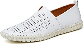 Sumuzhe Stylish and comfortable Men's Drive Loafers Casual Light Soft Leather Hollow Breathable A Foot Pedal Boat Moccasins Summer must (Color : Hollow White, Size : 48 EU)