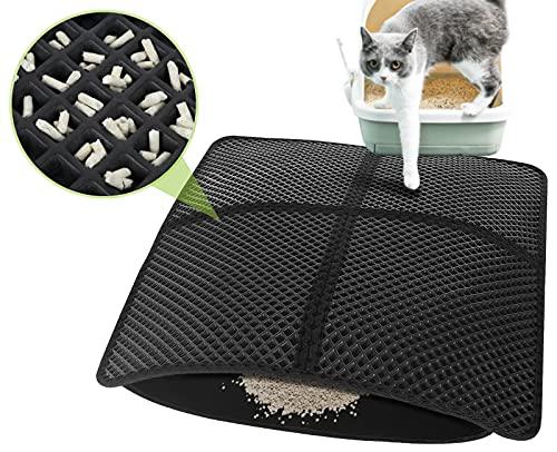 Pecute Estera de Arena para Gatos Impermeable Cat Litter Mat Alfombra de Basura Rascadores Litter Trapping Mat Doble Capa no Tóxico Antideslizante Plegable para Arenero Gatos (Negro, 75*65cm)