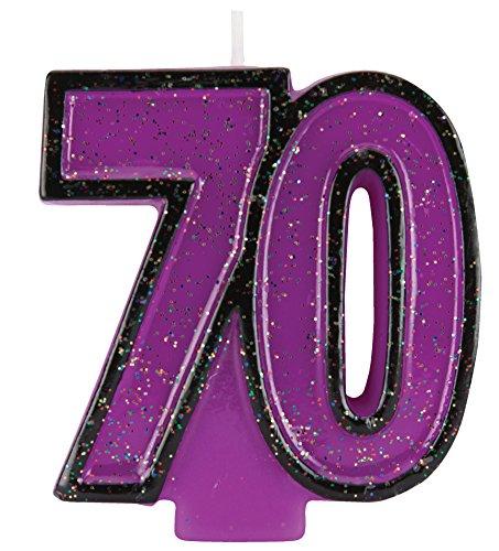 Creative Converting Glitter Numeral Candle, 2.75' x 2.8', Purple