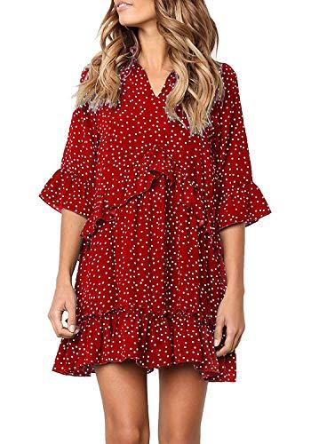 Chunoy Women Polka Dot Mini Dress with Pockets V Neck Short Sleeve Ruffles Casual Sundress Red Large
