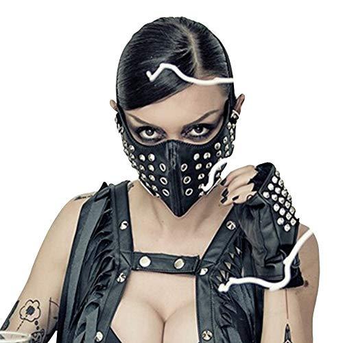 WLXW Máscara de Remache Steampunk Terror Aterrador Guay Hip Hop Media Máscara Mascarada Fiesta de Halloween Juegos de rol Accesorios de Vestuario Negro
