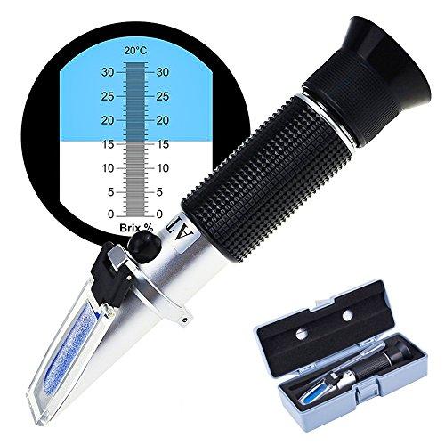 Zuckergehalt Refraktometer, ToWinle Refraktometer 0-32 Brix Wein Refraktometer zur Messung des Zuckeranteils mit ATC Handrefraktometer für Winzer Wein Bier Obst Frucht usw