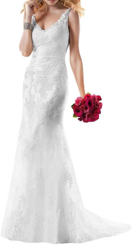 Angel Bride Straps VNeck Sheath Lace Wedding Dresses Long Dresses