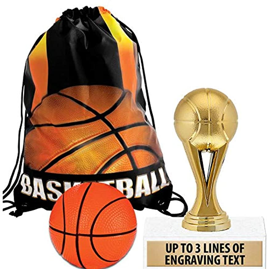 Crown Awards Basketball Goodie Bags, Basketball Favors for Basketball Themed Party Supplies Comes with Personalized Gold Kids Basketball Trophy, Squishball and Basketball Drawstring 10 Pack