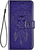 IKASEFU Compatible with ASUS Zenfone 3 (ZE552KL) Case Pu Leather Wallet Strap Case Card Slots Shockproof Magnetic Kickstand Folio Flip Book Cute Emboss Owl Wind chimes Protective Cover Case,purple