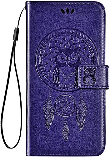 IKASEFU Compatible with Lenovo Vibe P2 Case Pu Leather Wallet Strap Case Card Slots Shockproof Magnetic Kickstand Slim Folio Flip Book Cute Emboss Owl Wind chimes Protective Cover Case,purple
