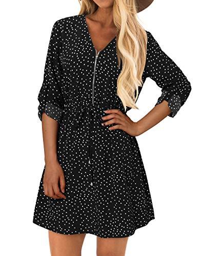 YOINS Kleider Damen Knielang Langarm Elegantes Blusenkleid Herbst Tunikakleid Winterkleid V-Ausschnitt Hemdkleid mit Gürtel Schwarz Polka M