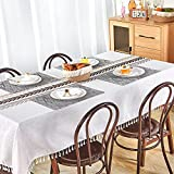 Mantel 140 × 200 con 6 Manteles Individuales Manteles Mesa Rectangular Tela Antimanchas Blanco Mantel Impermeable Lino Algodón Decoración Exterior Cumpleaños