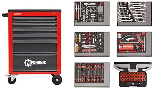 CAROLUS 2246.1803 Werkstattwagen Mechanic rot mit Werkzeugsatz 2250.5803, 222-tlg