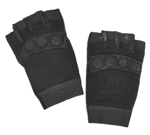 Ted and Jack Mighty Grip Handschuh zum Gewichtheben, gepolstert, fingerlos - Schwarz - Groß