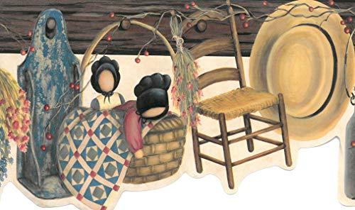 Dundee Deco BD6245 Tapeten Bordüre, vorgeklebt, Landhausbraun, rot, beige, graue Körbe, Puppen, Hut auf Haken, gewellte Wandbordüre, Tapetenbordüre Retro-Design, 4,57 m x 17,78 cm