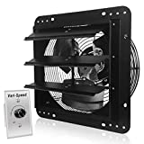 VENTISOL 12 Inch Variable Shutter Exhaust Fan With Speed Controller,Vent Fan For Greenhouses,Shop,Home Attic,Garage Ventilation,Black