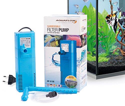 Aquaflow Technology® AIF-611M - Bomba de filtro para acuario sumergible para agua dulce y salada. Para tanques de acuario de hasta 100 litros. 450L/H 6W