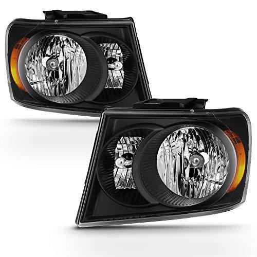 ACANII - For 2007 2008 2009 Dodge Durango Black Housing Headlights Headlamps Replacement Paie Set Driver & Passenger