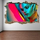 Pegatinas de pared Maquillaje Manicura Modelo Cabello Salón de belleza Arte de la pared Etiqueta mural Calcomanía Moda-70x100cm