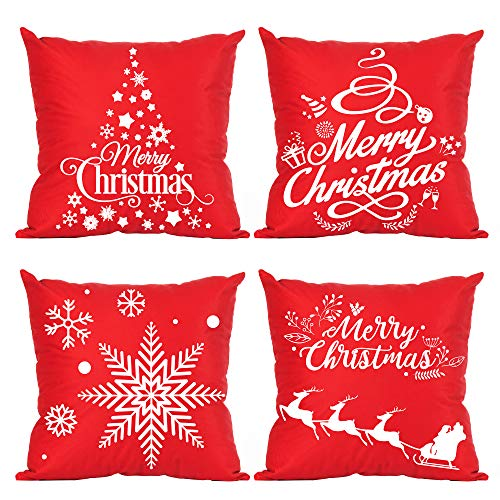 Ditmeer Red Christmas Throw Pillow Cover 18X18 Set of 4...