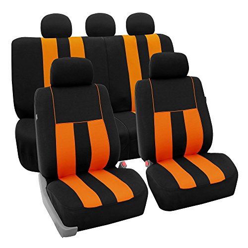 FH Group FB036ORANGE115 Seat Cover (Airbag Compatible and Split Bench Orange)