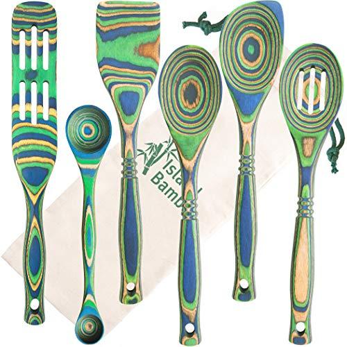 "Island Bamboo Pakkawood 6-Piece Utensil Set with Gift Bag - Elegant Kitchen Spoon Slotted Spoon Corner Spoon Spatula 13"" 9 Double Measuring Spoon Spurtle - Heat Resistant Non-Stick Utensils"