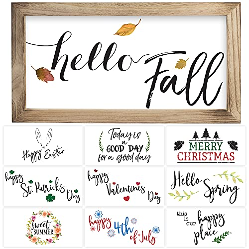 """Farmhouse Wall Decor Signs With 10 Interchangeable Sayings Perfect For Fall Decoration – Beautiful 9X17"""" Rustic Wood Picture Frame with 10 Designs – Easy To Hang Fall And Halloween Decor For Your Home"""