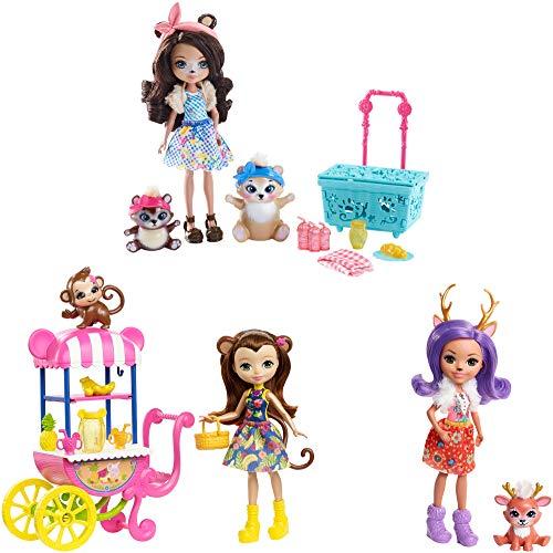 Enchantimals Danessa Deer y Sprint - Picnic en el parque Pack de 3 muñecas con mascotas (Mattel FVJ80)