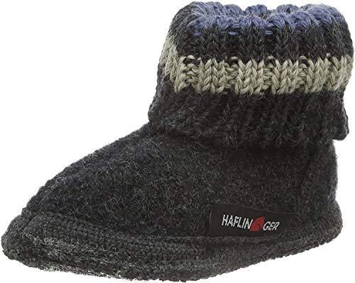 Haflinger Paul, Hüttenschuhe, Unisex-Erwachsene, Walkstoff aus reiner Wolle ,Grau (Graphit 77) ,37