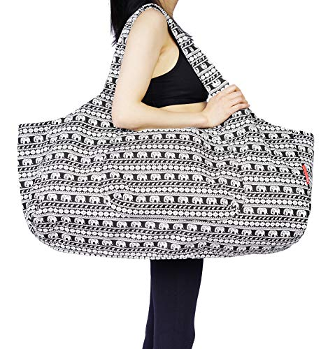 Aozora Yoga Mat Bag Large Yoga Mat Tote Sling Carrier with Pockets Fits Mats with Multi-Functional Storage Pockets Light and Durable (Elephant)