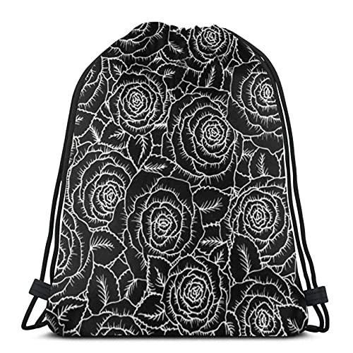 jiadourun Bolsas de cuerdas Mochila , hermosa rosa negra, bolsa de cuerda Mochila Cinch Bolsa de playa de nailon resistente al agua para gimnasio, compras, deporte, yoga