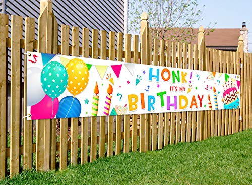 Honk Its My Birthday Porch Sign Birthday Yard Signs Decorations Colorful Party Supplies Door Banner for Kids Party Indoor and Outdoor Decor Large Quarantine Birthday Banner 9.8feet X 1.6feet