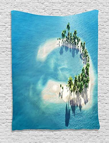 ABAKUHAUS Insel Wandteppich, Atoll-Palmen-Ozean, Wohnzimmer Schlafzimmer Heim Seidiges Satin Wandteppich, 150 x 200 cm, Elfenbein Grün Blau