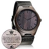 Orologio in legno Personalizzato, orologio moda casual fatto a mano in legno Orologi da polso Regalo (to figlio, papa)