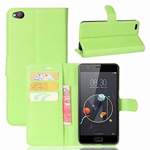 Ycloud Geldbörse Hülle für ZTE Nubia N2 Smartphone, Matt Textur PU Leder Magnetisch Flip Handyhülle mit Standfunktion Kartenfächer Entwurf (Weiß)