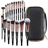 Makeup Brushes, 18 Pcs Professional Premium Synthetic Makeup Brush Set with Case, Foundation Kabuki Eye Travel Make up Brushes sets (Black Gold)