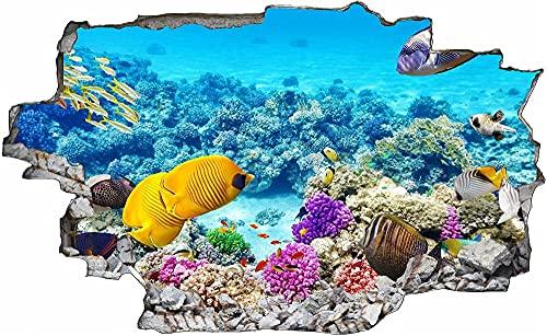 Adesivi murali Vista 3D Adesivi murali Pesce di corallo mare di pesce arte Adesivi murali Decorazioni per la casa Adesivi murali 70x110cm