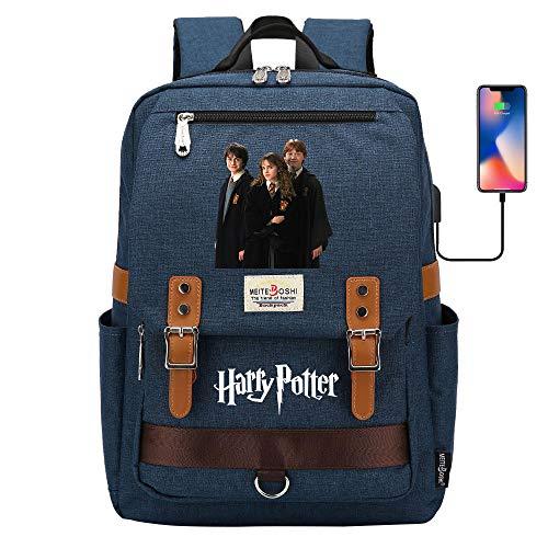 DDDWWW Mochilas Escolares Hogwarts, Bolsas de la Escuela Mágica para Buenos Amigos, Mochilas Multifuncionales y Bolsas de Almuerzo Ligeras 42CM/30CM/16CM Azul Marino