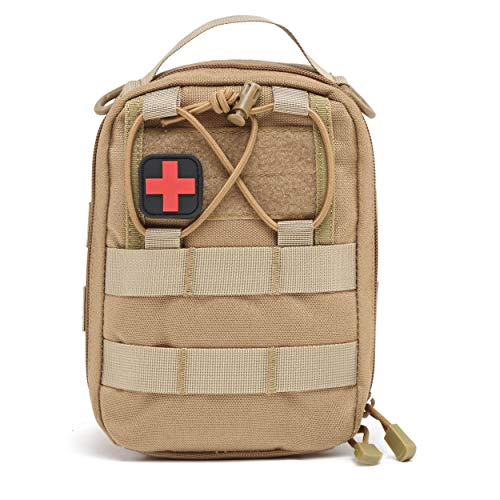 Azarxis First Aid Pouch Medical Molle EDC Admin Pouch Tactical Utility Bag IFAK Emergency Survival Gear for Hiking, Camping, Outdoor (Khaki)