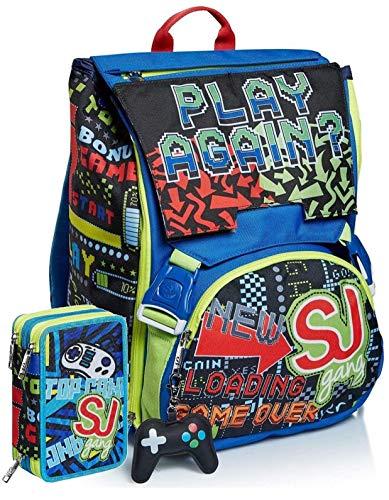 Schoolpack Zaino Seven SJ Gang Play Again Estensibile + Astuccio Triplo Completo